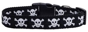 Skulls Nylon Ribbon Dog Collars Large