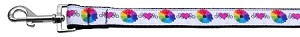 Technicolor Love Nylon Ribbon Dog Collars 1 wide 6ft Leash