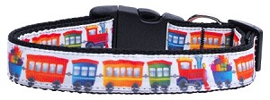 Trains Ribbon Dog Collars Medium