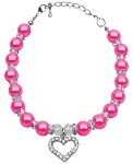 Heart and Pearl Necklace Bright Pink Lg (10-12)