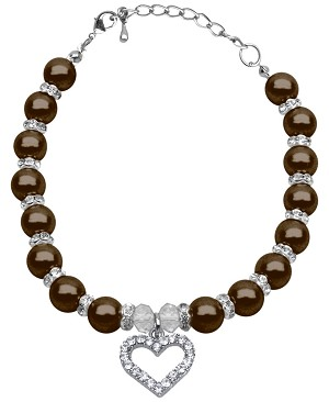 Heart and Pearl Necklace Chocolate Sm (6-8)