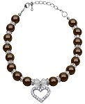 Heart and Pearl Necklace Chocolate Lg (10-12)