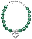 Heart and Pearl Necklace Emerald Green Lg (10-12)
