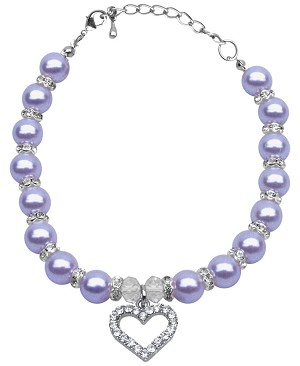 Heart and Pearl Necklace Lavender Md (8-10)