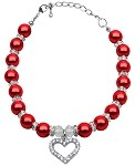 Heart and Pearl Necklace Red Lg (10-12)