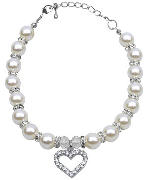 Heart and Pearl Necklace White Md (8-10)