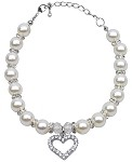 Heart and Pearl Necklace White Lg (10-12)