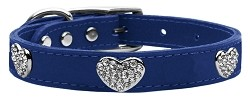 Crystal Heart Genuine Leather Dog Collar Blue 20