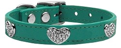 Crystal Heart Genuine Leather Dog Collar Jade 24