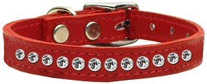 One Row Clear Jeweled Leather Red 12