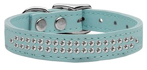 Two Row Clear Jeweled Leather Baby Blue 16
