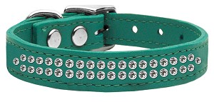 Two Row Clear Jeweled Leather Jade 20