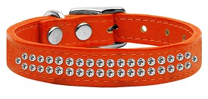 Two Row Clear Jeweled Leather Orange 20
