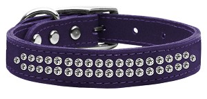 Two Row Clear Jeweled Leather Purple 18