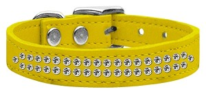 Two Row Clear Jeweled Leather Yellow 16
