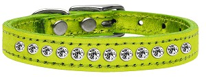 One Row Clear Crystal Metallic Leather Lime Green 12