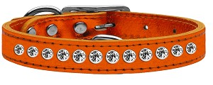 One Row Clear Crystal Metallic Leather Orange 14