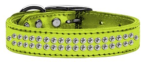 Two Row Clear Crystal Metallic Leather Lime Green 20