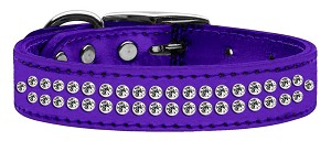 Two Row Clear Crystal Metallic Leather Purple 20