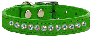 One Row AB Jeweled Leather Emerald Green 14