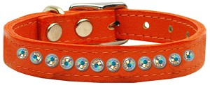 One Row AB Jeweled Leather Orange 12