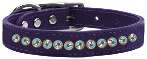One Row AB Jeweled Leather Purple 12