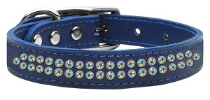 Two Row AB Jeweled Leather Blue 16