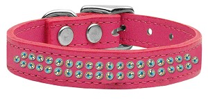 Two Row AB Jeweled Leather Pink 18