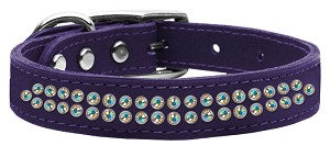 Two Row AB Jeweled Leather Purple 20