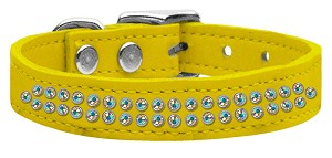 Two Row AB Jeweled Leather Yellow 18