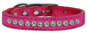 One Row AB Crystal Metallic Leather Pink 12