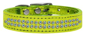 Two Row AB Crystal Metallic Leather Lime Green 16
