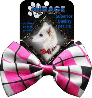Dog Bow Tie Plaid Pink