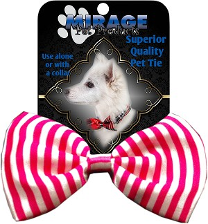 Dog Bow Tie Stripes Pink