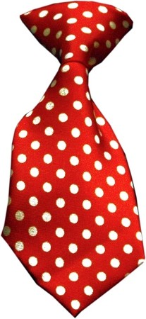 Dog Neck Tie Swiss Dot Red