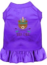 Wild Child Embroidered Dog Dress Purple Med (12)