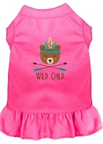 Wild Child Embroidered Dog Dress Bright Pink Med (12)