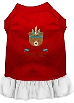 Wild Child Embroidered Dog Dress Red with White Sm (10)