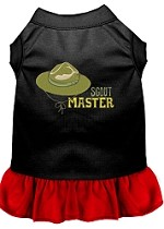 Scout Master Embroidered Dog Dress Black with Red Sm (10)