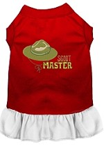 Scout Master Embroidered Dog Dress Red with White Sm (10)