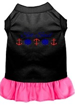 Set Sail Embroidered Dog Dress Black with Bright Pink Sm (10)
