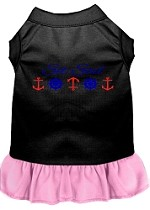 Set Sail Embroidered Dog Dress Black with Light Pink XL (16)