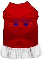 Set Sail Embroidered Dog Dress Red with White Sm (10)