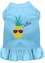 Pineapple Chillin Embroidered Dog Dress Baby Blue Sm (10)