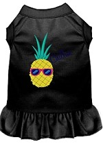 Pineapple Chillin Embroidered Dog Dress Black Sm (10)