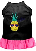 Pineapple Chillin Embroidered Dog Dress Black with Bright Pink Sm (10)