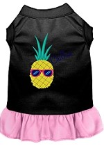 Pineapple Chillin Embroidered Dog Dress Black with Light Pink Sm (10)