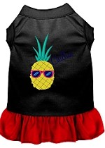 Pineapple Chillin Embroidered Dog Dress Black with Red Sm (10)
