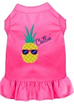 Pineapple Chillin Embroidered Dog Dress Bright Pink Sm (10)