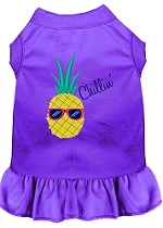 Pineapple Chillin Embroidered Dog Dress Purple Sm (10)